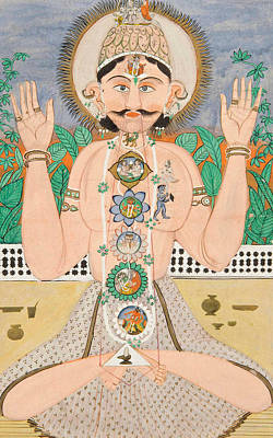 Parvati Painting - The Subtle Body And The Chakras by Indian School