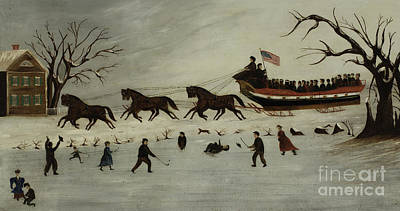 Hockey Rink Painting - The Suffragettes Taking A Sleigh Ride by American School