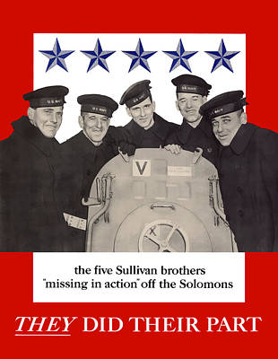 Warishellstore Mixed Media - The Sullivan Brothers - They Did Their Part by War Is Hell Store