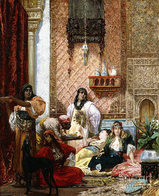 Turkish Painting - The Sultan's Favorites, 1875  by Georges Clairin