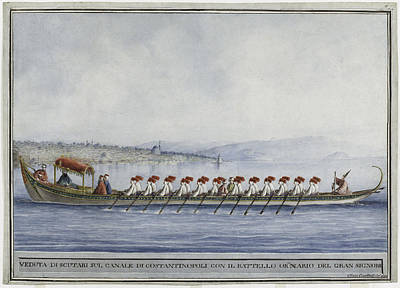 Late 18th Century Painting - The Sultan's Imperial Caique Off The Shores Of Uskudar by Clara Barthold Mayer