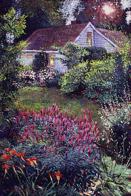Impressionism Paintings - The Summer Evening Cottage by David Lloyd Glover