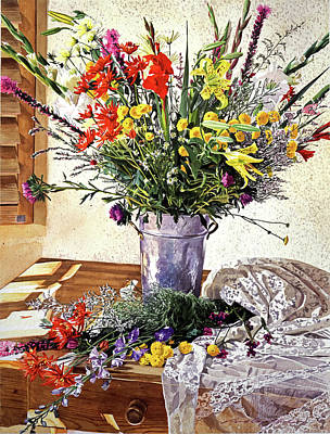 Floral Arrangement Painting - The Summer Room by David Lloyd Glover