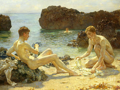 On The Beach Painting - The Sun Bathers by Henry Scott Tuke