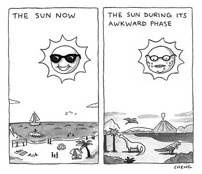 Drawing - The Sun During Its Awkward Phase by Alice Cheng