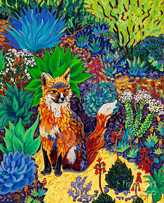 Succulents Painting - The Sun Fox by Cathy Carey