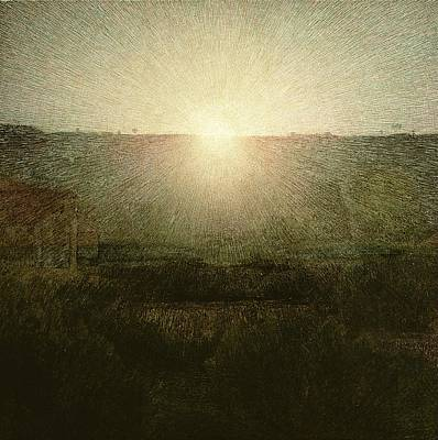 Rising Painting - The Sun by Giuseppe Pellizza da Volpedo