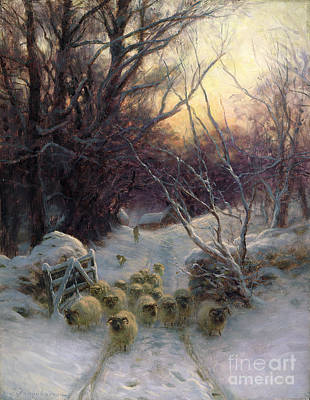 Weathered Painting - The Sun Had Closed The Winter Day by Joseph Farquharson
