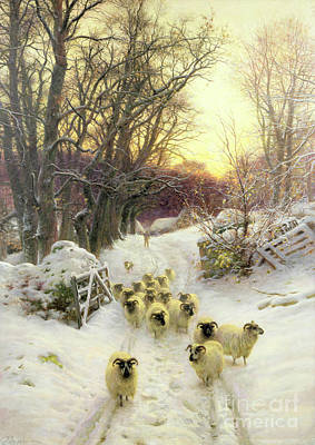 Farmyard Painting - The Sun Had Closed The Winter's Day  by Joseph Farquharson