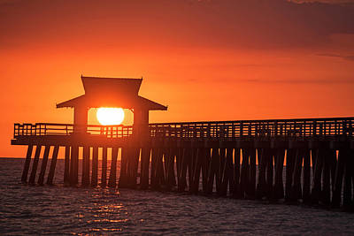 Photograph - The Sun Has A Hat Naples Pier Sunset Naples Florida by Toby McGuire