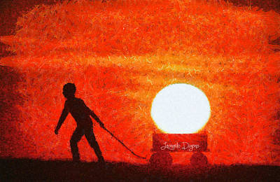 Wheel Painting - The Sun Mover by Leonardo Digenio