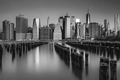 Photograph - The Sun Rises At The New York City Skyline Bw by Susan Candelario