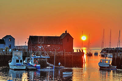 Photograph - The Sun Rising By Motif Number 1 In Rockport Ma Bearskin Neck by Toby McGuire
