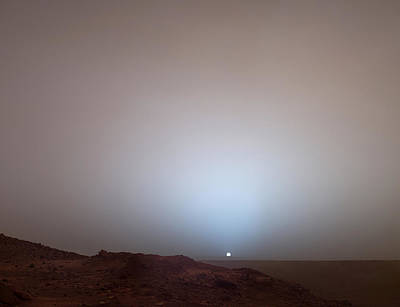 The Sun Setting Below The Rim Of Gusev Art Print by Nasa