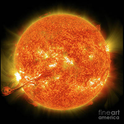 The Sun, Solar Prominince, Solar Flare, Space Art Print by Tina Lavoie