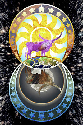 Digital Art - The Sun, The Moon, And The Steers by Denise Hutchins