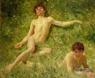 The Sun Painting - The Sunbathers by Henry Scott Tuke