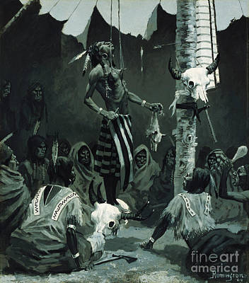 Cow Skull Painting - The Sundance by Frederic Remington