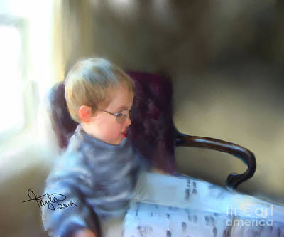 Little Boy Mixed Media - The Sunday Paper by Colleen Taylor