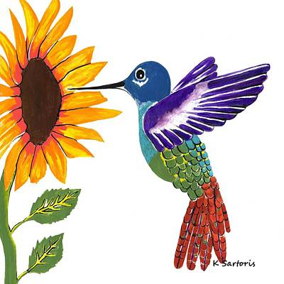 Painting - The Sunflower And The Hummingbird by Kathleen Sartoris
