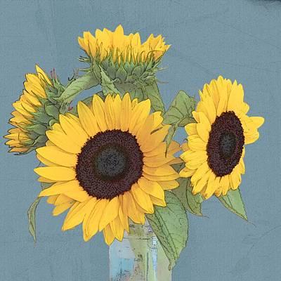 Digital Art - The Sunflowers by I'ina Van Lawick