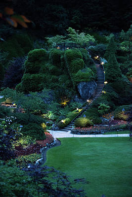 Photograph - The Sunken Garden Stairway At Dusk by Michael Bessler