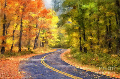 Autumn Landscape Digital Art - The Sunny Side Of The Street by Lois Bryan