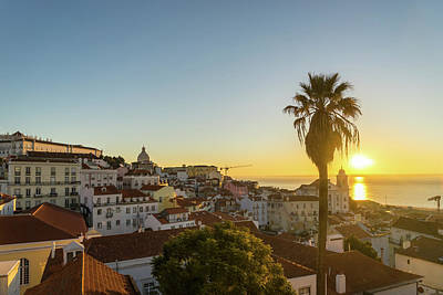 Photograph - The Sunny Soul Of Lisbon - Miradouro Das Portas Do Sol Sunrise by Georgia Mizuleva