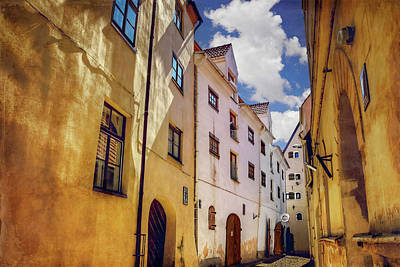 The Sunny Streets Of Old Riga  Art Print