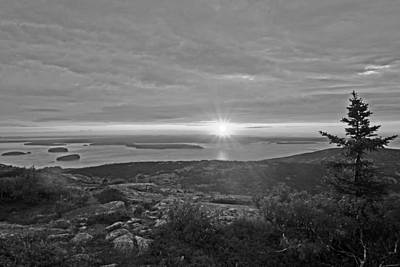 Photograph - The Sunrise From Cadillac Mountain In Acadia National Park Black And White by Toby McGuire