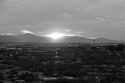 Photograph - The Sunset From Papago Park Phoenix Arizona Az 2 Black And White by Toby McGuire