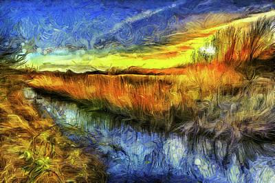 Mixed Media - The Sunset River Van Gogh by David Pyatt