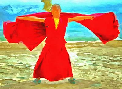 Photograph - The Super Fit Monk In Red by Ashish Agarwal