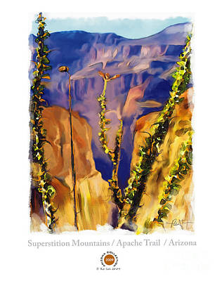 Grand Canyon Mixed Media - The Superstition Mtns. Az by Bob Salo