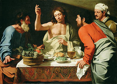 Supper At Emmaus Painting - The Supper At Emmaus by Bartolomeo Cavarozzi