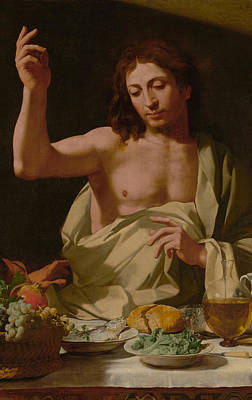 Baptism Painting - The Supper At Emmaus-detail by Bartolomeo Cavarozzi