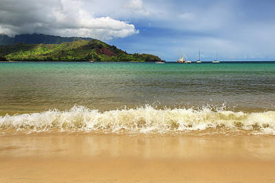Photograph - The Surf At Hanalei Bay by James Eddy