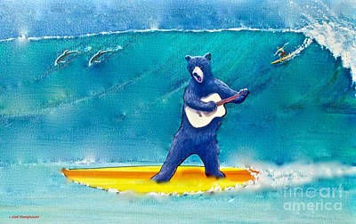 The Surfing Bear Original by Jerome Stumphauzer
