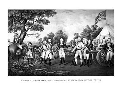 Landmarks Painting Royalty Free Images - The Surrender of General Burgoyne Royalty-Free Image by War Is Hell Store