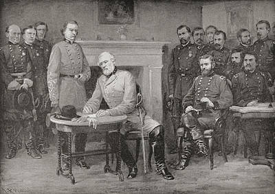 General Grant Drawing - The Surrender Of General Lee To General by Vintage Design Pics
