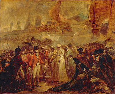 Painting - The Surrender Of The Two Sons Of Tipu Sahib  Sultan Of Mysore  To Sir David Baird by Henry Singleton