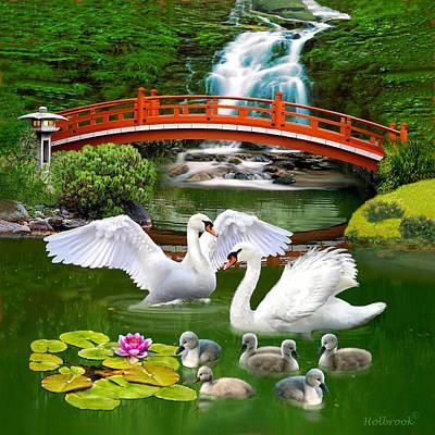 Digital Art - The Swan Family by Glenn Holbrook