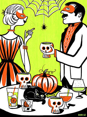 Invitations Painting - The Swankiest Halloween Party On The Block by Little Bunny Sunshine