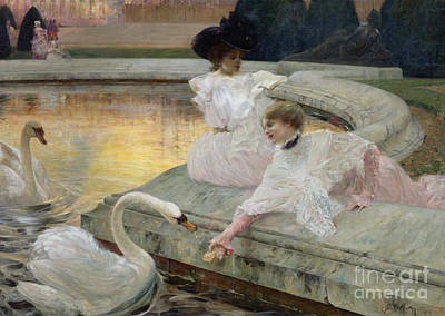 Pond Painting - The Swans by Joseph Marius Avy
