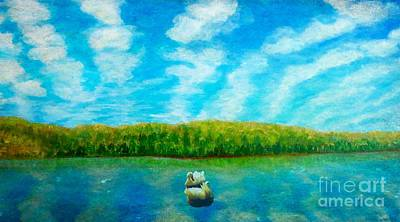 Painting - The Swans Serene Swim  by Kimberlee Baxter