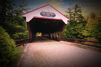 Photograph - The Swift River Covered Bridge,in  Conway New Hampshire. Looking by Rusty R Smith