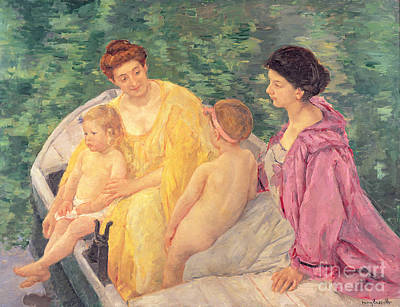Sailing Painting - The Swim Or Two Mothers And Their Children On A Boat by Mary Stevenson Cassatt