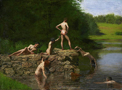 Bathing Painting - The Swimming Hole by Thomas Eakins
