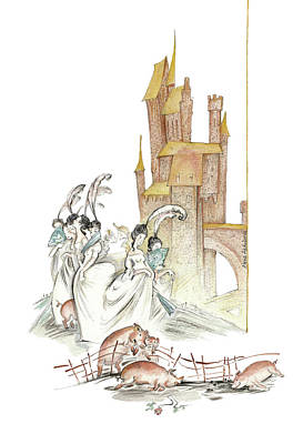 The Swineherd - Princess Giving 100 Kisses For Toys - Illustration For Classic Fairy Tale Original by Elena Abdulaeva