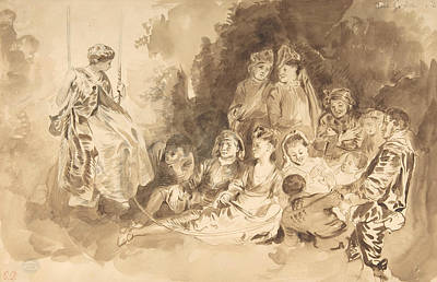 Drawing - The Swing, After Antoine Watteau  by Eugene Delacroix